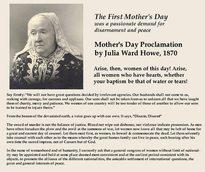 mother's day. julia ward howe